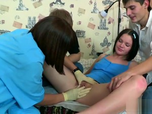 Doctor Assists With Hymen Physical And Deflowering Of Virgin Chick