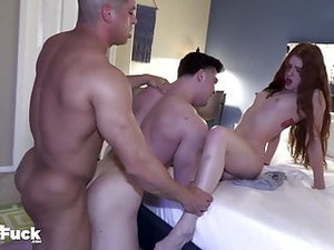 WOW! BOYFRIEND OF SEXY ASS REDHEAD WATCHES 2 BI GUYS EXPLOR
