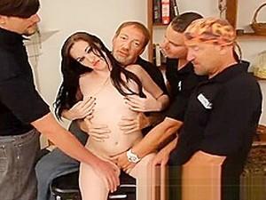 Lactating Hottie Banged By Bukkake Boys!