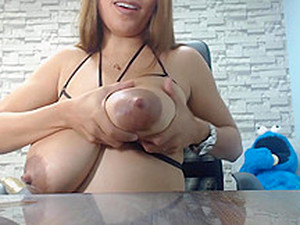 Young Sexy Latin Mommy Milking Herself On Camera