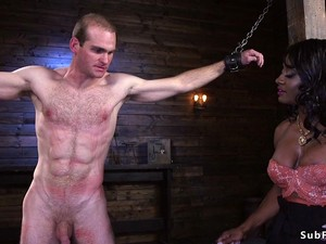 Muscled Busty Ebony Dom Fucks Male