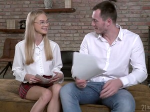 Nerdy Blonde In Glasses Nancy Ace Turned To Be Nasty And Insatiable Girl