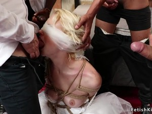 Blindfolded Tied Bride Group Banged