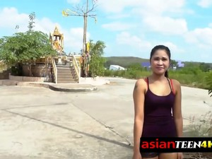 Horny Backpacker Asked This Naughty Asian Teen For Sex And She Agreed.