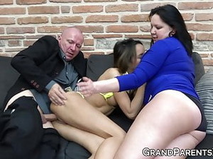 Busty Grandma Seduces Teen Into Fucking Grandpa Threesome