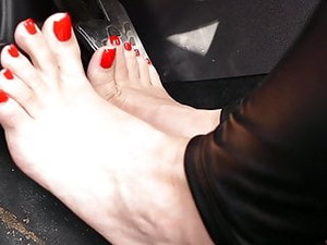 Pedal Pumping Barefoot And In High Heels
