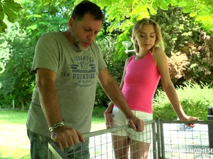 Slim Light Haired Czech Nympho Lily Ray Is Poked From Behind Outdoors