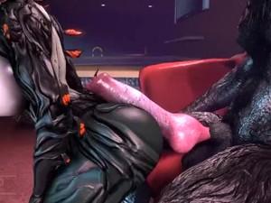 Werewolf Performs ANAL On THICC Warframe Slut In A Strip Club