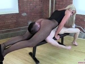 Slim White Sexy Blonde In Fishnets Face Sitting