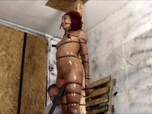 Beautiful Girl In Hard Tied
