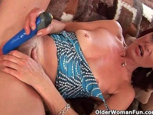 Granny With Hard Nipples And Hairy Pussy Masturbates