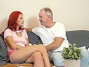 Grandpa Cums On Teen Tits After She Pleasures His Cock
