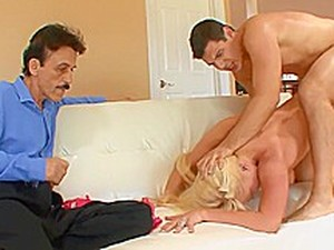 Stud Fucks Dude's Hot Blonde Wife While He Is Watching