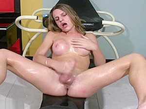 Legal Age Teenager Ladyman With Bigtits Oils Up Her Massive Wazoo And Penis