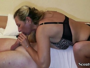 German MILF Hooker Teach Virgin Guy How To Fuck