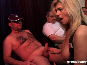 Mature Blonde Busty Whore With Pierced Tits Gangbanged