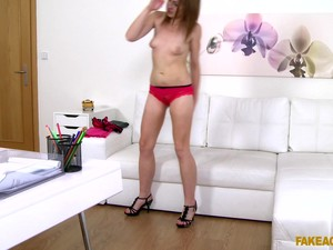 Amateur Skinny Girl Is Nervous About Having Sex With A Fake Agent