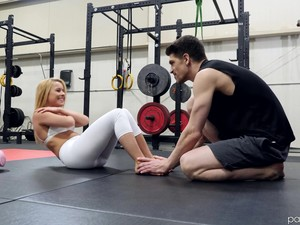 Sporty Blue Eyed Blonde Lilly Lit Sucks And Rides Dick In The Gym