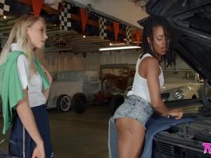 Car Mechanic Kira Noir Gets Horny And Fucks Her Customer Riley Anne