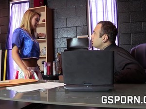 A Hot College Girl Fucking For The Boss. Her Wet Pussy Is Penetrated For A Big Dick
