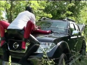 Girl Full Encased In Red Latex With Rubber Mask And Gloves Fucked On Car