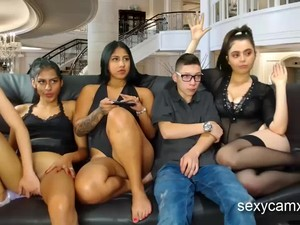 Lucky Boy Fucks Slutty Stepsister And Her Three Horny Friends Live At Sexycamx.com