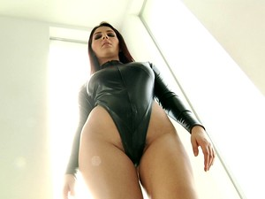 Busty Brunette In A Leather Outfit Gets Double Penetrated