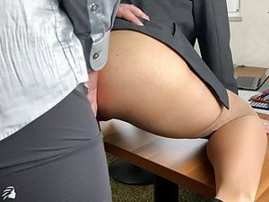 BOSS USES SEXY SECRETARY AND FILLS ALL HER HOLES