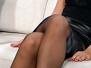 Long Legs In Black Pantyhose On TV 4