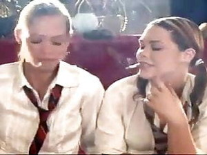 Maddie & Nadja Smoking Schoolgirls Full Length! Just Wow! !
