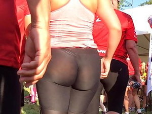 Phat Ass Bubble Butt Marathon Runner In See Through Spandex
