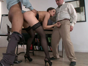 Two Clothed Co-workers Fuck Nude Secretary In Stockings Ashley