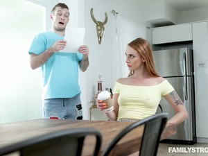 Rather Too Pale Tall Lady Xeena Mae Is Bent Over The Table For Some Banging