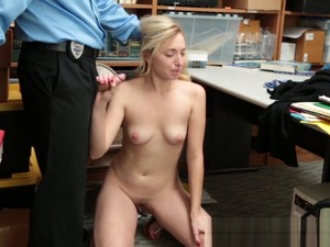 Teen Perp Got Her Shaved Twat Hammered By Police Officer