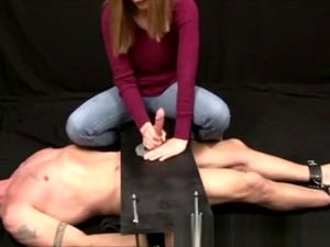 Mean Amateur Femdom Domina In Jeans Milks Submissive Guy