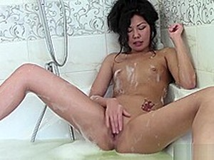 Asian Teen Is In The Bath Having A Sensual Bubble Bath