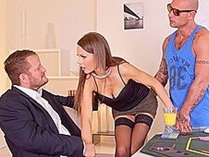 Brunette In Stockings After Poker Game Fucks With Two Men...