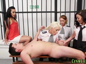 Uniformed Cop Dominas Tug British