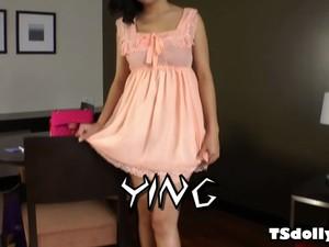 Ladyboy Ying Jerking Her Cock
