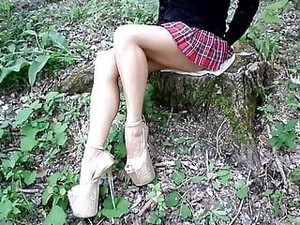 My Legs Without Pantyhose, High Heels And A School Mini Skir