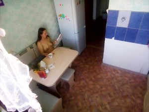 Spying Naked Mother Drinking Coffee And Reading Magazine -MyNakedStepmother