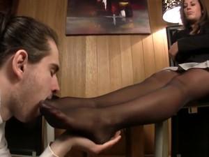 Man Sniffs And Licks His Mistresss Nylon Feet