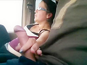 She Pleases Her Lover And Herself In The Car