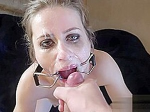 Open Mouth Gag Spit Piss Cum Face - Sloppy Deepthroat Gagging