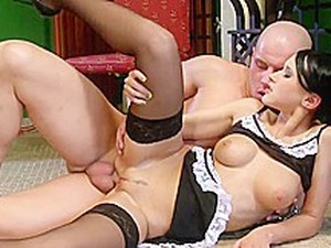 Naughty Raven Haired Maid Gets Seeing To From Her Masters Cock
