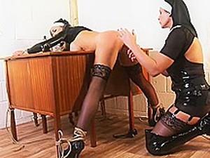 Mistress Nun Dominates Sexy Blonde