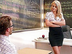 Student Blonde Teacher In Stockings Right In The Classroom Have Sex...