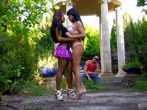 Horny Latina Brunette Cant Live Without Interracial Group Fucking Outdoor