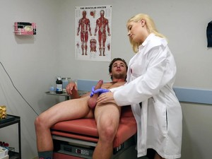 Horny Blonde Doctor Giselle Palmer Goes Down On Her Knees To Suck A Dick