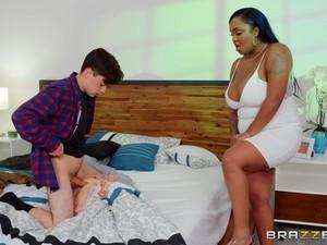 Big Ebony Girl Layton Benton Fucked Laying On Her Back And Cum On Face
